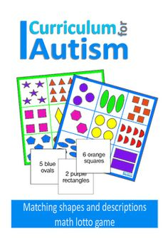"""Colors & Shapes lotto game- turn taking skills for students with Autism.This game is can help develop language and maths skills, as students match the descriptions on the cards to the shapes on the boards. Each card describes one set of shapes on the board e.g. """"4 pink squares"""".Includes 2 different boards and 18 cards.The game could also be used as a single player matching activity to help with reading and matching skills.You may also like:Colors and Shapes Clip CardsMatch Colors and Sha..."""