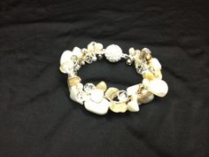 Mother of Pearl, freshwater pearls, Citrine, Calcite, and crystal wired cuff bracelet -Euphorica by Teresa Caine Jewelry Designs