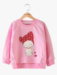 $10.89 High Low Cartoon Cat Print Sweatshirt