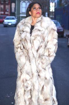 Vintage 70s Boho Arctic Fox Fur Plush Shaggy CHUBBY by Vtgantiques, $499.00