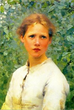 George Clausen: Portrait of a Girl's Head, 1886