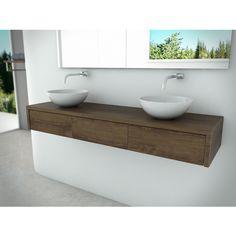 Forest Falls Amazon and Badmeubelset 180x25x50cm Handle-less 3 drawers 2 basins Intense Brown Wood Oaks - Sanitairwinkel.nl