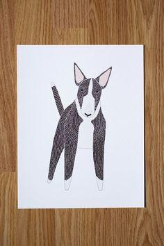 English Bull Terrier Illustration, Terrier Print, Dog Print, Dog Illustration, Dog Portrait, Pet Portrait, Dog Lover, Personalized Pet Print