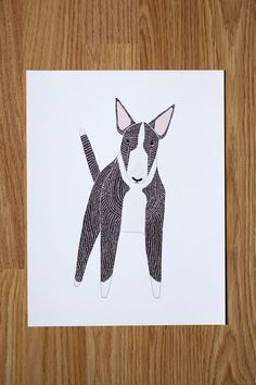 English Bull Terrier Illustration  FREE US SHIPPING by Gingiber, $23.00