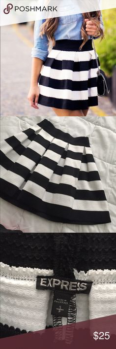 Express stripped white and black skirt. Size S Express stripped white and black skirt. Size S. Express Skirts