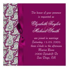 Luxury Ornament Violet Damask Wedding Invite