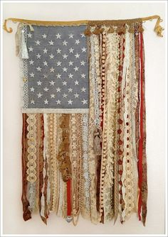 DIY Wall Art - Shabby Flag Wall Hanging Made From Remnant Lace and Fabric