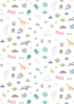 Young Explorer hand illustration Print by Min Pin Design, Designed in collaboration with Halcyon Nights for kids bedding. Cute Patterns Wallpaper, Wallpaper Iphone Cute, Walpaper Iphone, Dinosaur Wallpaper, 90s Pattern, Kids Background, Dinosaur Pattern, T Art, Diy Phone Case