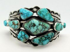 Cuff | Aaron Toadlena. Sterling silver and Kingman turquoise ||| Source ~ http