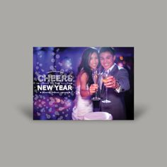 "Get your glam on! Oh wait, you already did! Put your wedding photos to work to mail the perfect New Year's Card. Cap off your first year as Mr. and Mrs. while striking your best ""Happy Ever After"" pose. #holiday #photo #card #holidayphotocard #envelopments"