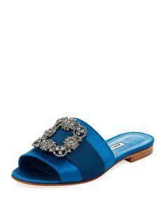 Manolo Blahnik Martamod Crystal-buckle Slide Sandals In Blue Satin Ankle Strap Heels, Pumps Heels, Fancy Shoes, Flat Shoes, Zanotti Heels, Manolo Blahnik Shoes, Open Toe Sandals, Slide Sandals, Chanel Shoes