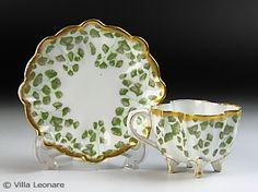 Rakuten - [Limoges] Tressemanes & Vogt (T & V) Green leaf pattern cup and saucer (demitasse): Villa Leonare