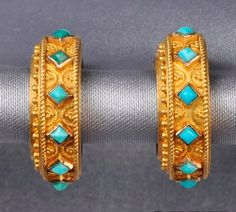 Etruscan Revival Gold and Turquoise Earrings, each hoop with turquoise pyramids, applied bead and ropetwist accents, lg. 3/4 in