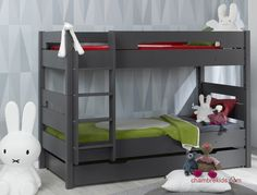 Lits superposés enfant avec tiroir de lit Milo anthracite