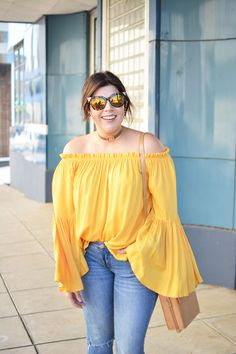 Yellow Off the Shoulder Blouse, 70s, bell sleeve, yellow, choker, fashion, fall fashion, spring fashion, summer fashion, fall style, spring style, summer style,