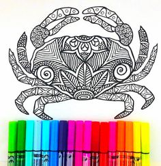 Sea crab Colouring Page for grown ups, perfect for Those Who like coloring pages and more complex work with many colors. Its color therapy! Design