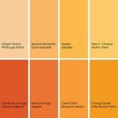 Orange paint picks for bathrooms (clockwise from top left):  1. Ginger Peach 119-5, Pittsburgh Paints  2. Spiced Nectarine DES193, Dunn-Edwards  3. Medici A0706, Glidden  4. Mac n' Cheese 098-4, Mythic Paint  5. Orange Spark KM3558-3, Kelly-Moore Paints  6. Carrot Stick 2016-30, Benjamin Moore  7. Island Orange 2010-2, Valspar  8. Obstinate Orange SW6884, Sherwin-Williams
