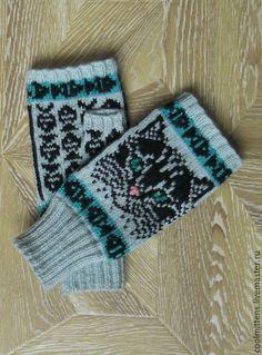 Купить Митенки женские - комбинированный, рисунок, шерсть с акрилом Crochet Socks, Mittens, Ravelry, Gloves, Knitting, Projects, Hands, Cats, Breien