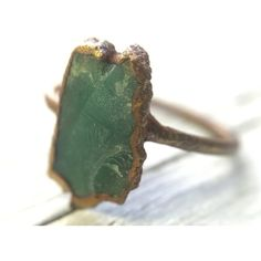 Australian Chrysoprase Raw Crystal Gemstone Cocktail Ring ($45) ❤ liked on Polyvore featuring jewelry, rings, gem rings, statement rings, gemstone jewellery, chrysoprase ring and crystal jewelry