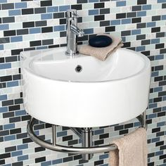 "$259.95 Limbrook Round Wall Mount Sink with Towel Bar 19.5 left to right and 20"" front to back"