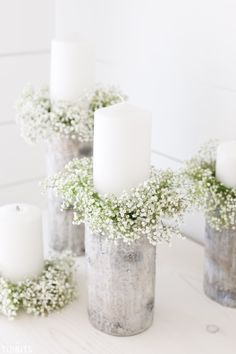 Everything is so much cuter in mini size, don't ya think? Especially these DIY Mini Candlestick Wreaths (or sometimes called candle rings), which would be so perfect for a centerpiece or a simple vignette in your home. Wedding Centerpieces, Wedding Table, Diy Wedding, Wedding Decorations, Wedding Events, Wedding Reception, Candle Rings, Unity Candle, Candle Arrangements