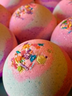 These magical sparkly bath bombs are scented with top notes of black cherry, orange, strawberry pineapple and effervescent lime, mid notes of eucalyptus violet and lilly and base notes of clove and vanilla bean. This listing is for a set of 2 bath bombs approx 4-5 oz each. Individually wrapped, colored with pink, light blue and violet. Topped off with unique sugar sprinkle mixture and cosmetic glitter. Bath bombs contain avocado oil and caution should be used in case your bath gets…