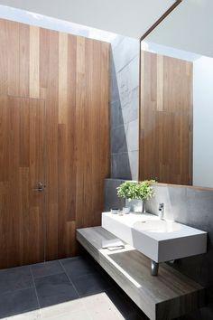 The Stepping House / Bower Architecture / ph: Shannon McGrath Australian Interior Design, Interior Design Awards, Bathroom Interior Design, Bathroom Wall Decor, Modern Bathroom, Small Bathroom, Stone Bathroom, Ikea Bathroom, White Bathroom