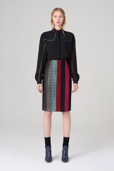 Marco de Vincenzo | Pre-Fall 2015 | 13 Black long sleeve shirt and multicolour checkered midi skirt