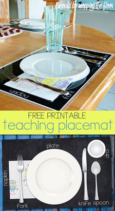 Free Printable Teaching Placemat | Perfect to help kiddos learn to set the table for meals. | Instant download. | Laminate for durability. #quickerpickerupper #minions #ad