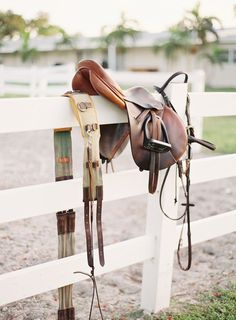 Evidence of the day's work. A surcingle, saddle and bridle hang quietly on the fence line.