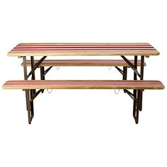Striped Biergarten Dining Set. For outside under tree. Or could recreate red/white stripes with any wooden bench?