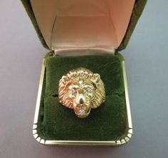 14K Yellow Gold Lion Ring Diamond Mouth Eyes Single Cut Vintage 9 Grams Size 9 #Unbranded #Vintage