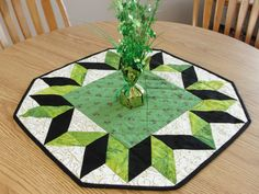 St Patricks Day Shamrock Green Quilted Table by countrysewing4U