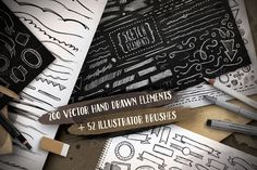 Handsketched Elements + Brushes by balabolka on Creative Market