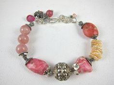 Bracelet ~ PINK FRAPPE ~ Rhodocrosite, Keishi Pearls, Cherry Quartz, Bali Sterling