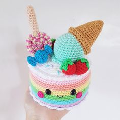 Rainbow Candy Cake amigurumi pattern by Super Cute Design Crochet Cake, Crochet Food, Cute Crochet, Kawaii Crochet, Food Kawaii, Rainbow Candy, Lollipop Candy, Paintbox Yarn, Easter Crafts For Kids