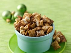 Caramel Cookie Crunch Chex® Mix 2 cups Chocolate Chex® cereal 2 cups Cinnamon Chex® cereal 2 cups popped popcorn 1 tablespoon butter or margarine cup packed brown sugar dark corn syrup 2 tablespoons sweetened condensed milk Chex Mix Recipes, Snack Recipes, Camping Recipes, Dessert Recipes, Chex Party Mix Recipe, Cookie Crunch, Caramel Cookies, Thing 1, Yummy Snacks