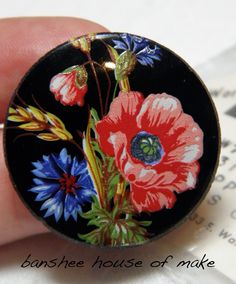 Vintage Round Cabochon: 1 Very Rare Glass Poppies Scene on Black (31MM) Glass Cab with Unique Red Blue Floral Scene Unset Mint Condition by bansheehouseofmake on Etsy