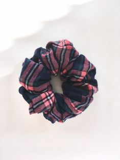 Plaid Pinked Edge Scrunchie Ponytail Holder 5 colors