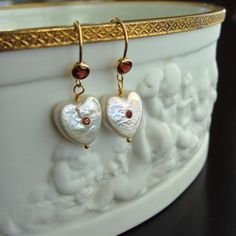 Queen of Hearts Earrings  - Heart Shaped Pearls with Pink Garnets