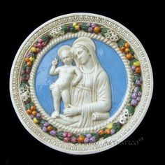Madonna with child (Madonna of the architects) - Della Robbia ceramic wall hanging plaque hand made in Italy for DELLA ROBBIA SHOP www.studioartistico.com - www.dellarobbiashop.com