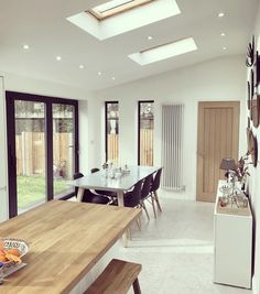 me ~ Lovely sunny morning. Here is a flashback to this time last year , this was when we were waiting to exchange and can't pack anything incase… in 2019 Kitchen Diner Extension, Open Plan Kitchen Diner, Open Plan Kitchen Living Room, Kitchen Family Rooms, Open Plan Living, Extension Veranda, House Extension Plans, House Extension Design, House Design