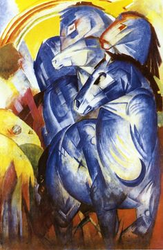 The Tower of Blue Horses: 1913 by Franz Marc - Expressionism (MISSING PAINTING!) Statements and theories about the fate of the painting that have been published include its having been destroyed at Carinhall when Goering had the house blown up as the Russians advanced towards it in 1945.