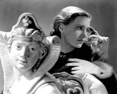 Lee Miller self portrait with Sphinxes, London, England 1940 by Lee Miller (2995-5) Images © Lee Miller Archives.