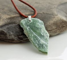 Raw jade pendant with sterling silver or adjustable leather cord raw jade pendant with sterling silver or adjustable leather cord rough nephrite jade arrow pendant aloadofball Image collections