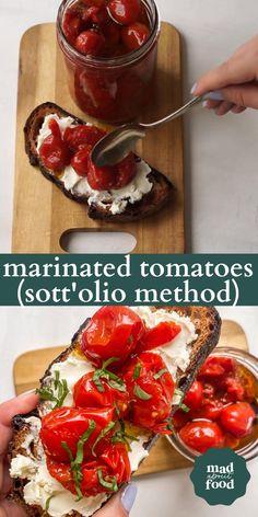 Stuffed Cherry Tomatoes, Marinated Cherry Tomatoes Recipe, Freezing Cherry Tomatoes, Italian Tomatoes Recipe, Cherry Pepper Recipes, Cherry Tomato Recipes, Veggie Recipes, Appetizer Recipes, Appetizers