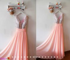 Pink Prom Long Chiffon DressSequin Pink Evening by FashionStreets