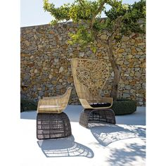 B&B Italia Crinoline Outdoor Armlehnstuhl mit Polyethylenfasergeflecht 65 cm