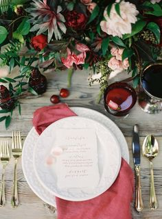 Would love to be sat at this ruby red table! Photography by Lani Elias