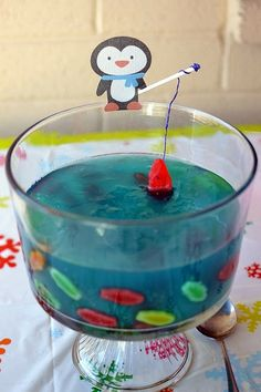 Penguin fishing in Jello ~ so cute!